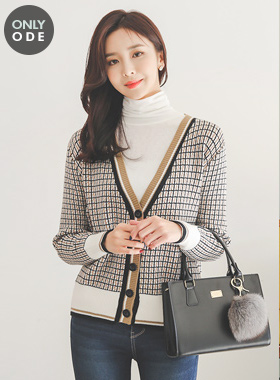 [Scratch]Soft Square Color Combination V-neck Cardigan
