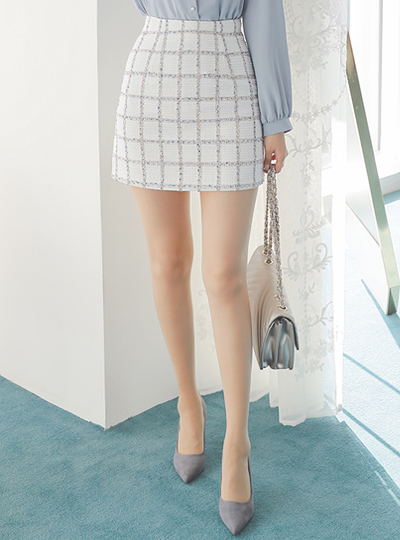 Plaid Check Tweed Mini Skirt