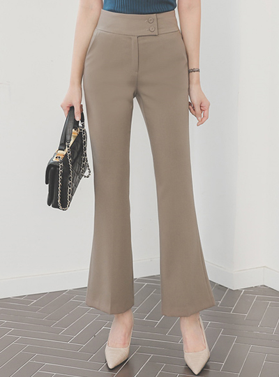 Side Two Button High Boot-Cut Slacks