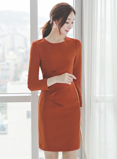 Glam Pintuck Shirring Span Dress