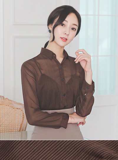 Mocha Stripe Patterns Blouse