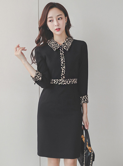 Leopard Color Combination Collar Shirt Dress