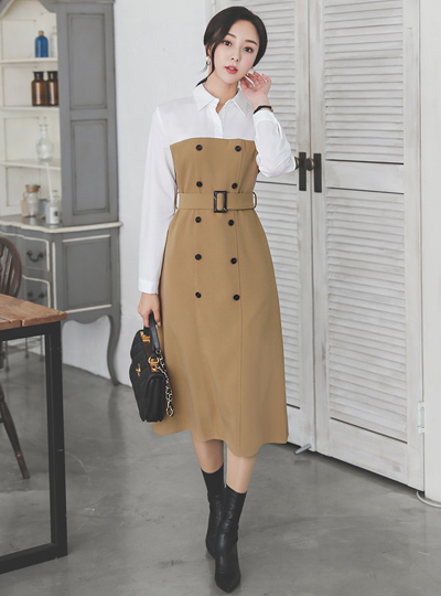 Color Combination Collar Shirt Belted Trench Dress