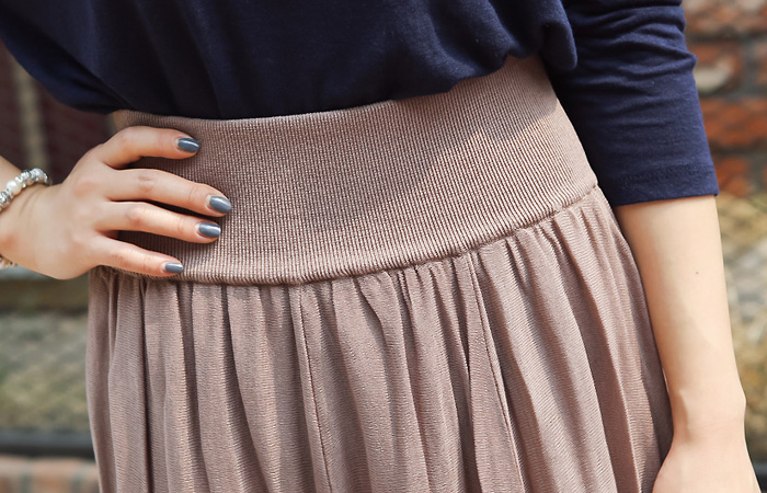 Wide Cool knit Flare Skirt