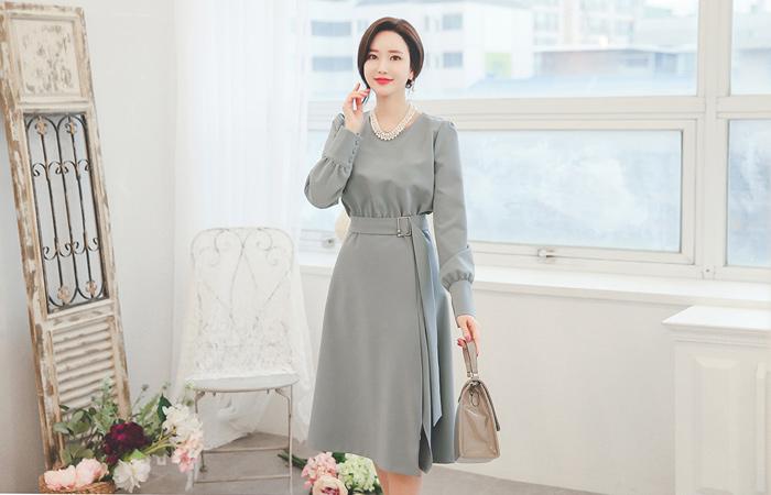 Lady Long Belt Gord Dress