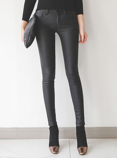 Coated Leather Black napping Jeans