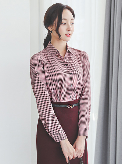 Mono Hound's-Tooth Check Patterns Blouse