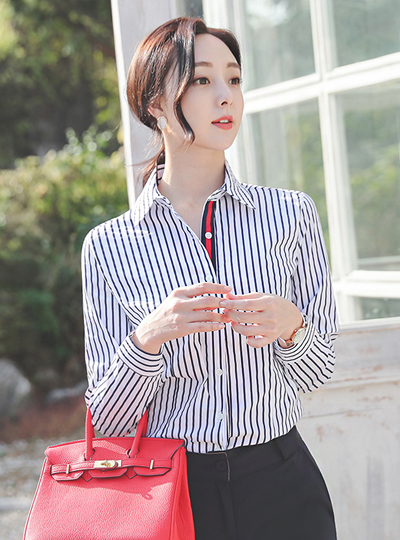 Color Tapping Basic Cotton Span Shirt