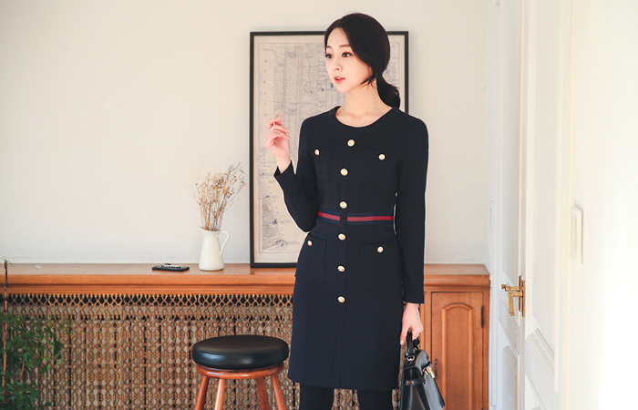 Mariner Luxury Button Dress