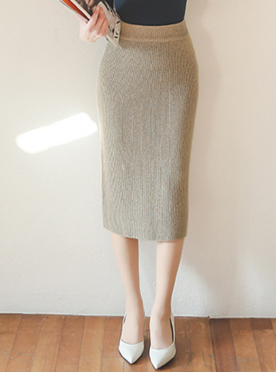 Wool knit MIDI Rong skirt