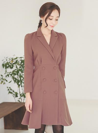 Double-button Slim Pads Hul Dress