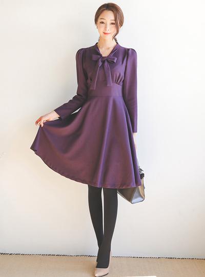Amur Ribbon Tie Flare Dress