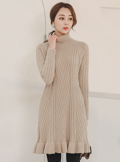 Twiddle Full Cardigan Stitch Turtleneck Wool Knit Dress