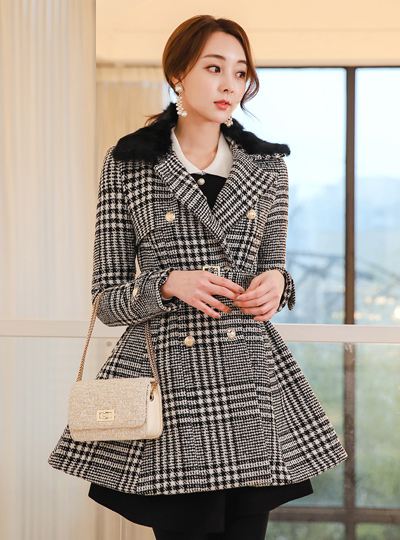 Real Rabbit Percalar Glen Check double Coat