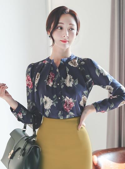 Holic Flower Shirring Chinese Blouse