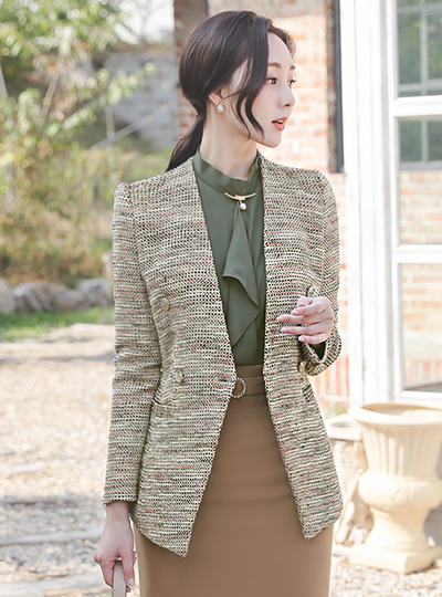 Luxury Wool Tweed Double-button No-collar Jacket