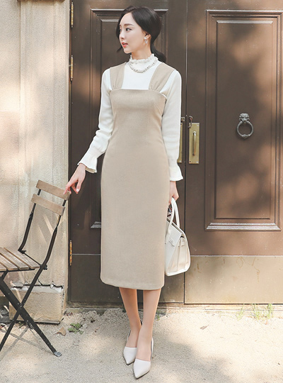Shirring Suspender H-line Long Dress