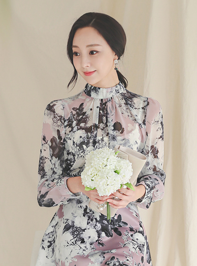 Romantic Flower Patterns Stand Collar Blouse