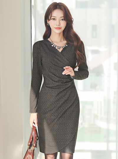 Herringbone Soft Fleece Span Shirring Wrap Dress