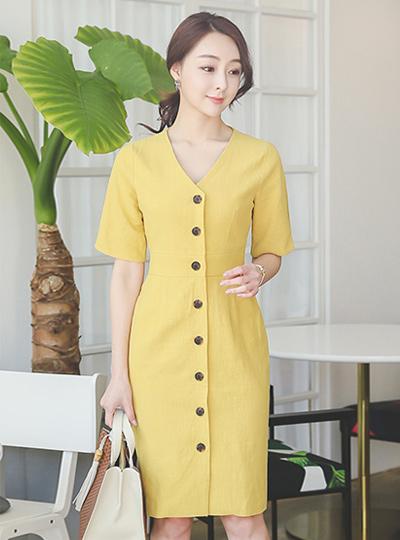 Button Line V-neck Linen Dress