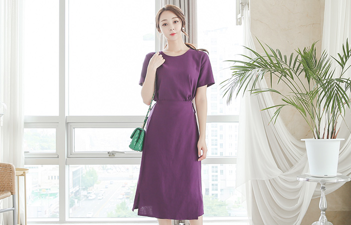 Color Linen Wrap Skirt Dress
