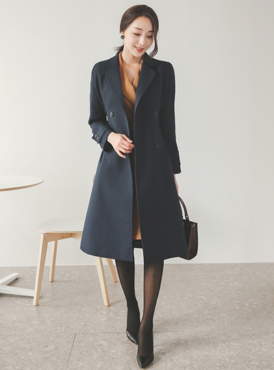 Click Black Button Pinch Trench Coat