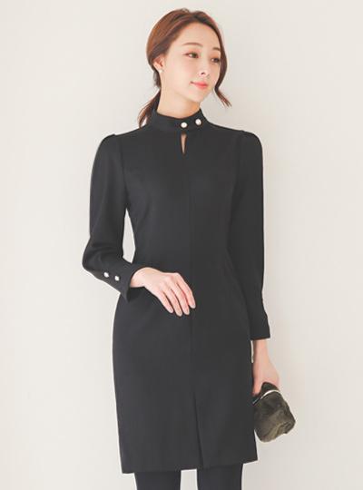 Imitation Pearl Slit Choker Neck Dress