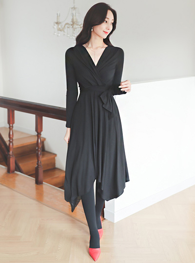 Shirring Wrap Belted Unbalance Flared Span Dress