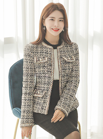 Satin Line Luxury Pearl Point Tweed Jacket