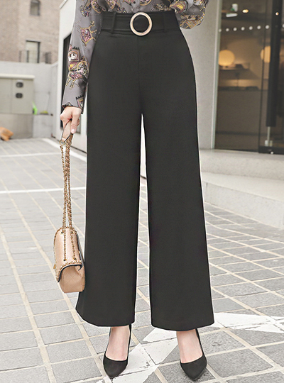 Braid Gold-Ring Belted Wide Slacks