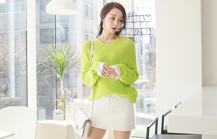 Denim cotton Mini Skirt (pants lining)