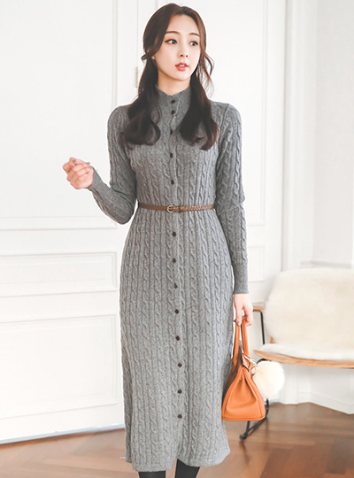 Pullover Turtleneck Twiddle Long Knit Dress