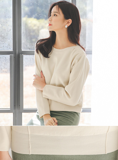 Inverted Boat Neck Pleats Knit