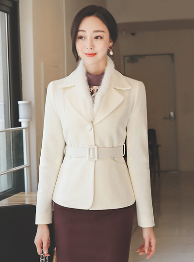 Mink Fur Lining Tailored Wool Jacket