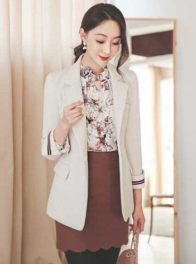 Mono Check Tapping Colored-Sleeves Slim Wool Jacket