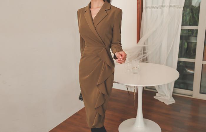 Collar Wrap Unbalance Frill Line Modern Dress