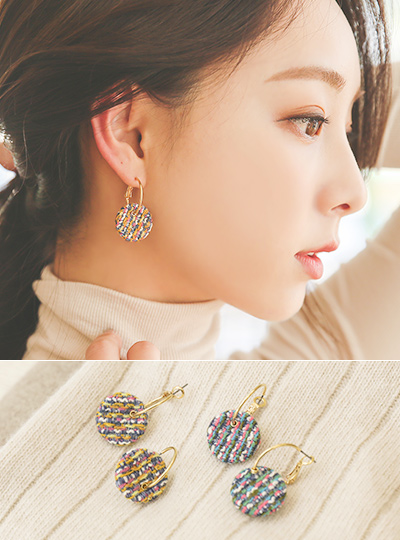 Circle Tweed Gold Earring