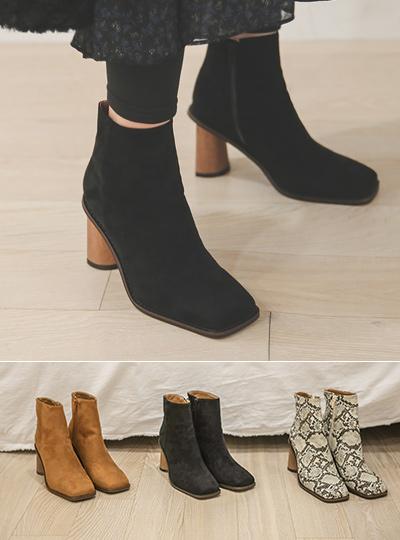 unique Wood Heel Square Ankle Boots