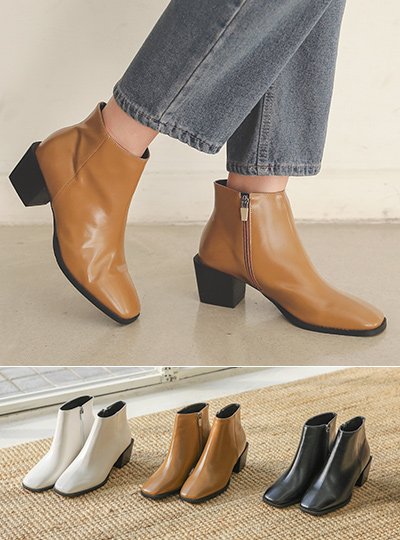 Square Line Black Block Heels Ankle boots