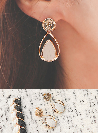 embossing Leather Coin Drop Earring