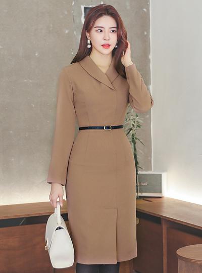 Modern Shawl Collar Cutting-line Slim Dress