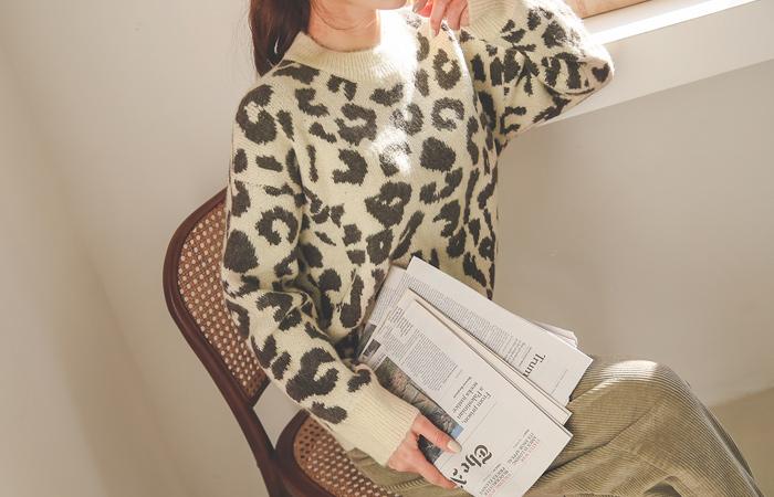 Soft Leopard Round Knit