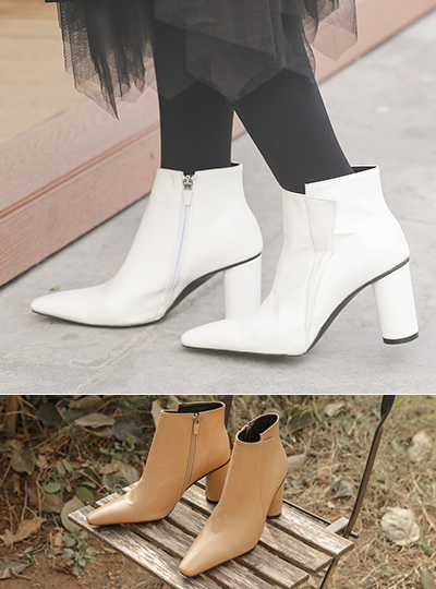 Unbalance Side Rounding Heel Ankle Boots