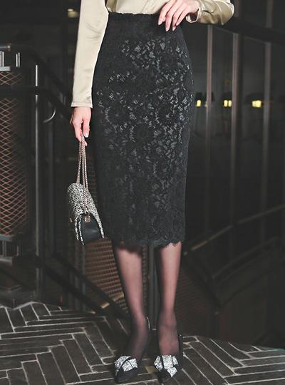 blond Code Lace Midi Skirt