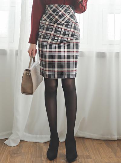 Glam Shirring High-Waist Check Skirt