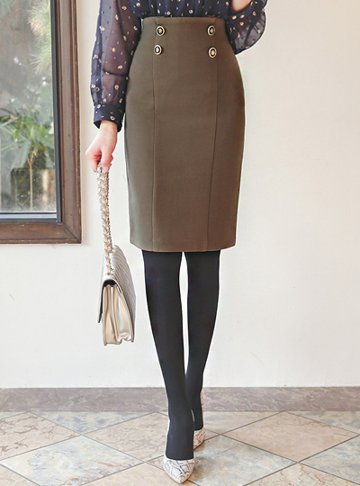 Double Gold Button Cutting-line Skirt