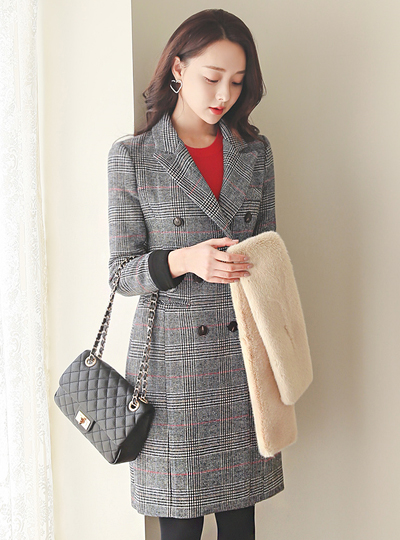 Classic Check Double-button Roll-up Color Combination Wool Coat