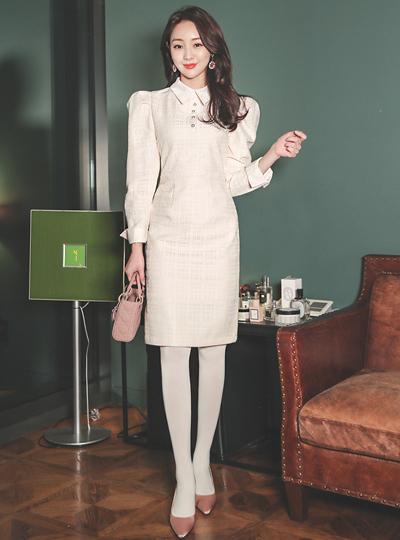 Isabel Puff Shoulder Satin Color Combination Jacquard Dress