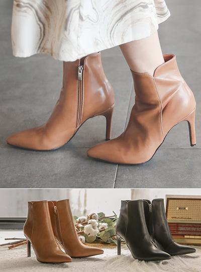 Stitch Slit Stiletto-Line Ankle boots