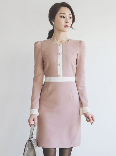 Tweed Color Combination Pearl Buttons Suede Dress